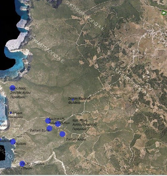 Η περιοχή από δορυφόρο (Κτηματολόγιο Α.Ε.).